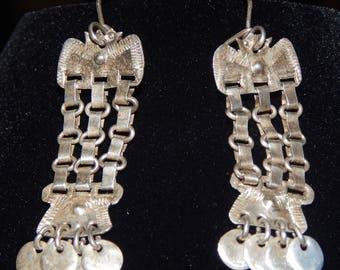 Vintage Chile Fringe & Disc Link Dangle Silver Earrings