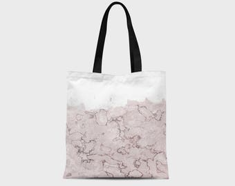 Pink Marble Tote Bag - Graphic Tote Bag - Marble Bag - Stylish Tote