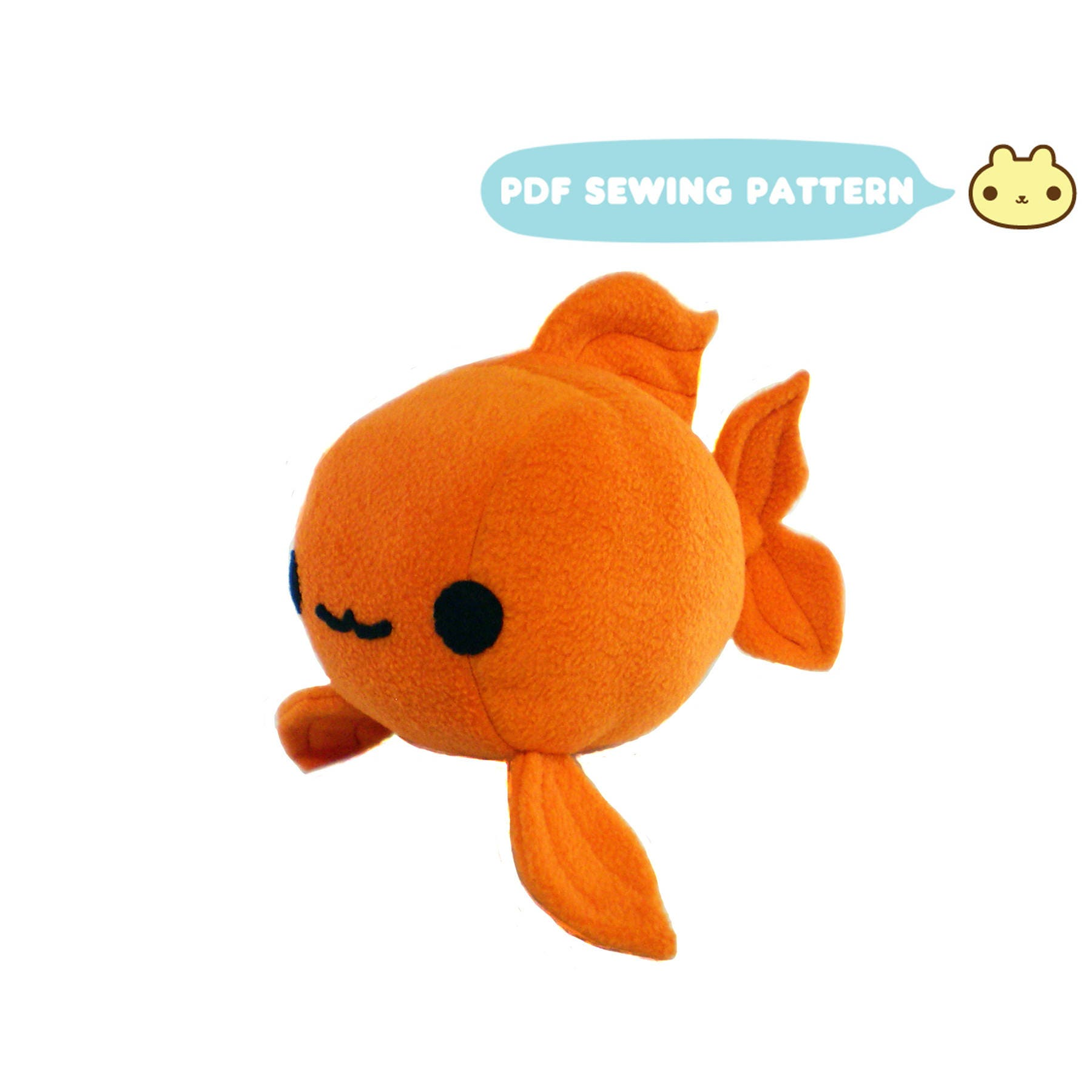 Goldfish plush sewing pattern koi toy pdf plush gold for Fish stuffed animal