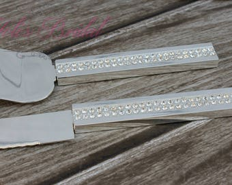 FAST SHIPPING!! Wedding Cake Server Set, Wedding Knife Set, Silver Wedding Cake Server Set, Wedding Gift, crystal Cake Server Set