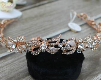 FAST SHIPPING!! Gorgeous Bridal Headband, Rose Gold Swarovski  Headband, Crystal Headband, Swarovski Headband, Crystal Rose Gold Headband