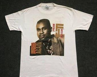 ON SALE 26% Vintage Freddie Jackson 90s Original Soul Music tee 80s band Rock Tour Rare L T Shirt