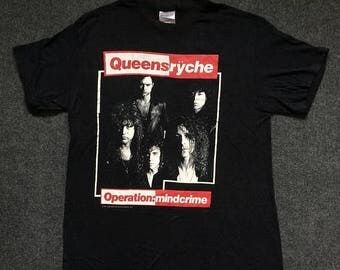 On Sale 28% Vintage QUEENSRYCHE Operation Mindcrime Concert 80s Heavy Metal T shirt