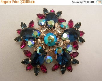 20% Off Sale Large Vintage Beau Jewels Blue, AB & Red Glass Brooch
