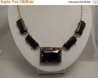20% Off Sale Vintage Black Glass Deco Look Necklace