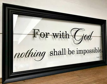 Bible Verse Wall Art, Housewarming Gift, Gift for Couple , With God All Things are Possible, Wedding Gifts for Couple A143B