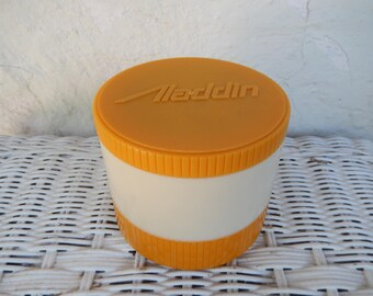 Aladdin Thermos Jar, Insulated Thermo Jar Freezer Lid, Yellow Gold White Small Storage Stackable Retro Container *Factory Misprint on Base