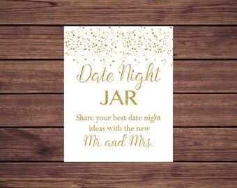 Date Jar Sign, Gold Confetti Date Jar Ideas Sign, Gold Confetti Bridal Shower Instant Download Printable