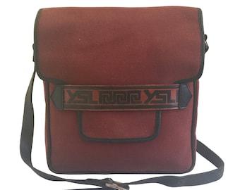 YSL Yves Saint Laurent Vintage Red Canvas Messenger Bag