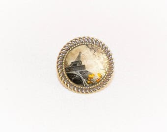 Adjustable ring bronze cabochon yellow Eiffel Tower
