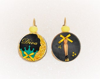 Earrings sleepers bronze cabochon Diva acbaret yellow and black