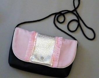 powdered black, pink leather clutch or shoulder bag, fringe, band silver sequins