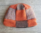 Adult Wool Hat // Fleece lined wool hat // Upcycled Sweater Hat // Warm beanie // Orange and Brown