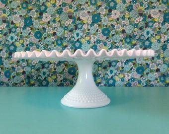 Vintage Fenton Cake Stand, White Hobnail Ruffled Edge, Ribbon, Milk Glass, Wedding Cake Stand, White Cake Stand