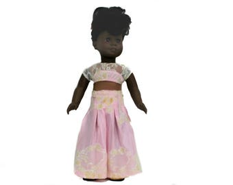 Pink and Lace Midriff Prom Dress for 18 Inch Dolls such as American Girl, Our Generation, Madam Alexander