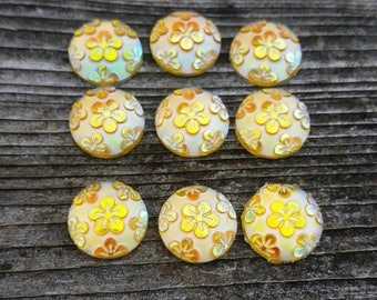 12mm Yellow Flower Print Cabochons