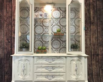 available vintage antique white french provincial china cabinet hutch boho gypsy chic
