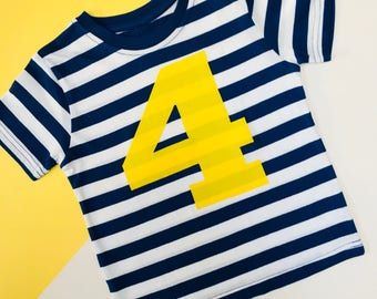 READY TO SHIP: Blue Stripy Appliqué 4 TShirt | 4th Birthday Outfits | Toddler Birthday Outfit