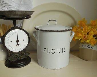 Large vintage enamel flour bin,  enamelware