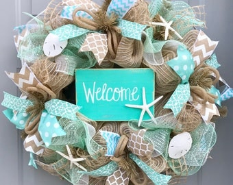 Welcome Beach Burlap Deco Mesh Wreath with Sea Shells, Seashell Wreath, Beach Wreath, Starfish Wreath
