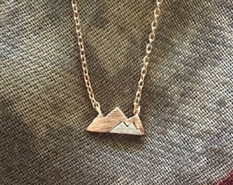 Rose Gold and silver mountain necklace
