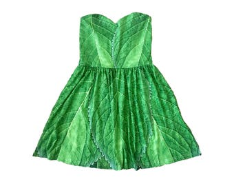 READY-to-SHIP LARGE Adult Tinkerbell Inspired Leaf Sweetheart Skater Dress