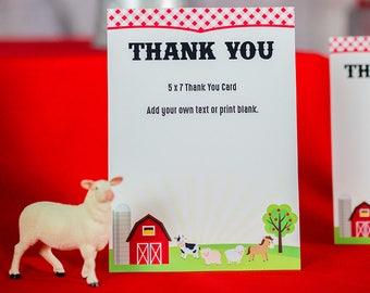 Farm Party Thank You Card -  Printable Thank You Card for Farm Party - Barnyard Thank You Card - Farm Thank You Card by Printable Studio