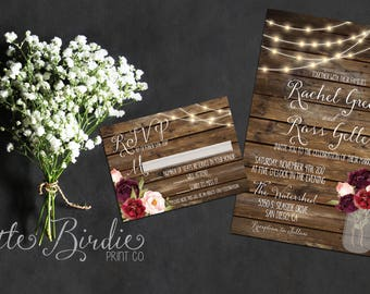 Rustic Fall Floral Wedding Invitation Suite - Wedding Invite RSVP Digital Printable or Printed Cards