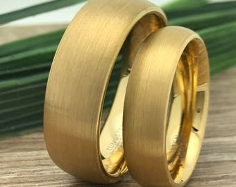 8mm/6mm Gold Plated Tungsten Rings, His and Her Ring Set, Engraved Date Rings, Couples Ring Set, Couples Names Rings, Matching Couple Ring