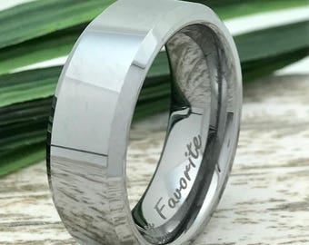 8mm Personalized Engrave Polish Finish Tungsten Ring, Tungsten Wedding Ring,Comfort Fit, Beveled Edge  FREE ENGRAVING