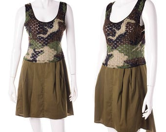 Christian Dior Army Camouflage Print Mesh Dress