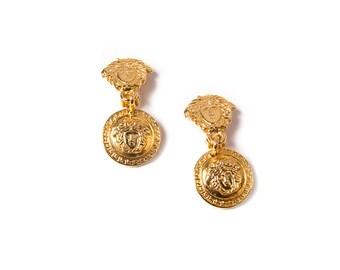 Vintage Gianni Versace Medusa Head Clip On Earrings