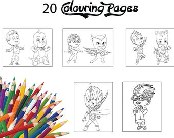 Children Colouring Pages 20 Assorted Of PJ Masks Kids