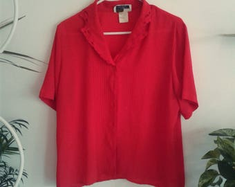 size medium or large red 1980s blouse with beautiful details on collar