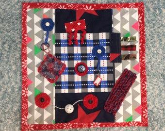 Red Blue Sensory Quilt Fidget Lap Blanket Dementia Alzheimers