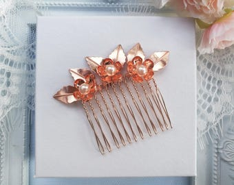 Rose gold hair comb, rose gold wedding hair comb, wedding hair piece, rose gold  bridal hair comb, bridal hair piece, flower hair comb