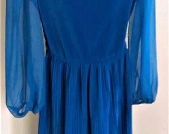 IT'S A LEHIGH 70s Pleated Dress in Royal with Chiffon Sleeve
