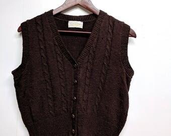 Vintage Women's Brown Sweater Vest/It's Pure Gould/Size Large/Button Down Vest/Cable Knit Vest