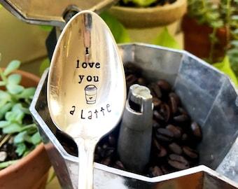 I Love You A Latte - Hey Sugar - Coffee Spoon - Stamped Silver Spoon - Brew Ha Ha - Stamped Tea Spoon - Tea Love - Stamped Coffee Spoon