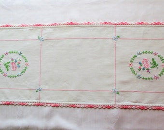 Embroidered Floral Dresser Scarf, Pink Ombre Crochet Trim - Pink, Purple, Green and Blue