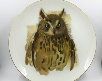 Woodland Haven Owl Plate by Enesco - Reproduction of a Painting by Hans Paul Luetcke - Owl Collector Plate - Barn or Cottage Decor