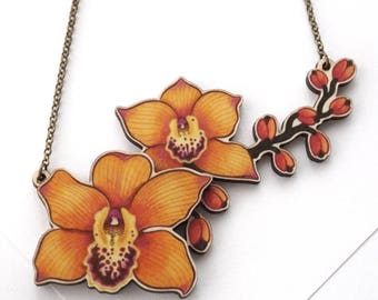 Laser Cut Orange Orchid Flower Statement Necklace, illustrated layered wood - Tropical Floral Plant Garden Summer Botanical Jewellery