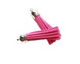 Long Pink Tassels - 10 Long Tassels with Silver Caps - Decorative Tassels For Jewelry - Purse Tassels - Key Chain Tassel Pendants - TL-S042