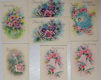 Vintage Mid Century Lot of 7 Parchment Coronation Collection Greeting Cards with Glitter 1940s or 1950s