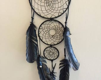 Beautiful Black Dreamcatcher with Blue Accent Feathers