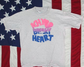 Vintage 1990's Billy Ray Cyrus Achy Breaky Heart Bubble Print T-Shirt Large/XL Striped Best Country Pop Tour Concert Band Tee