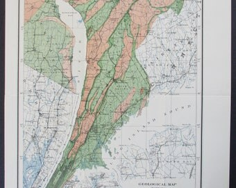 1895 Geologic map Brooklyn New York to Haverstraw Bay, Southeastern NY showing Distribution of Building Stones. Antique Vintage Map Original