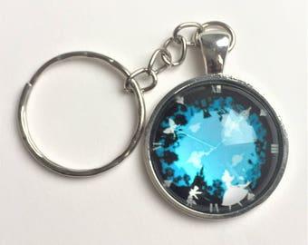Alice in Wonderland keychain key chain or keyring purse charm in white metal