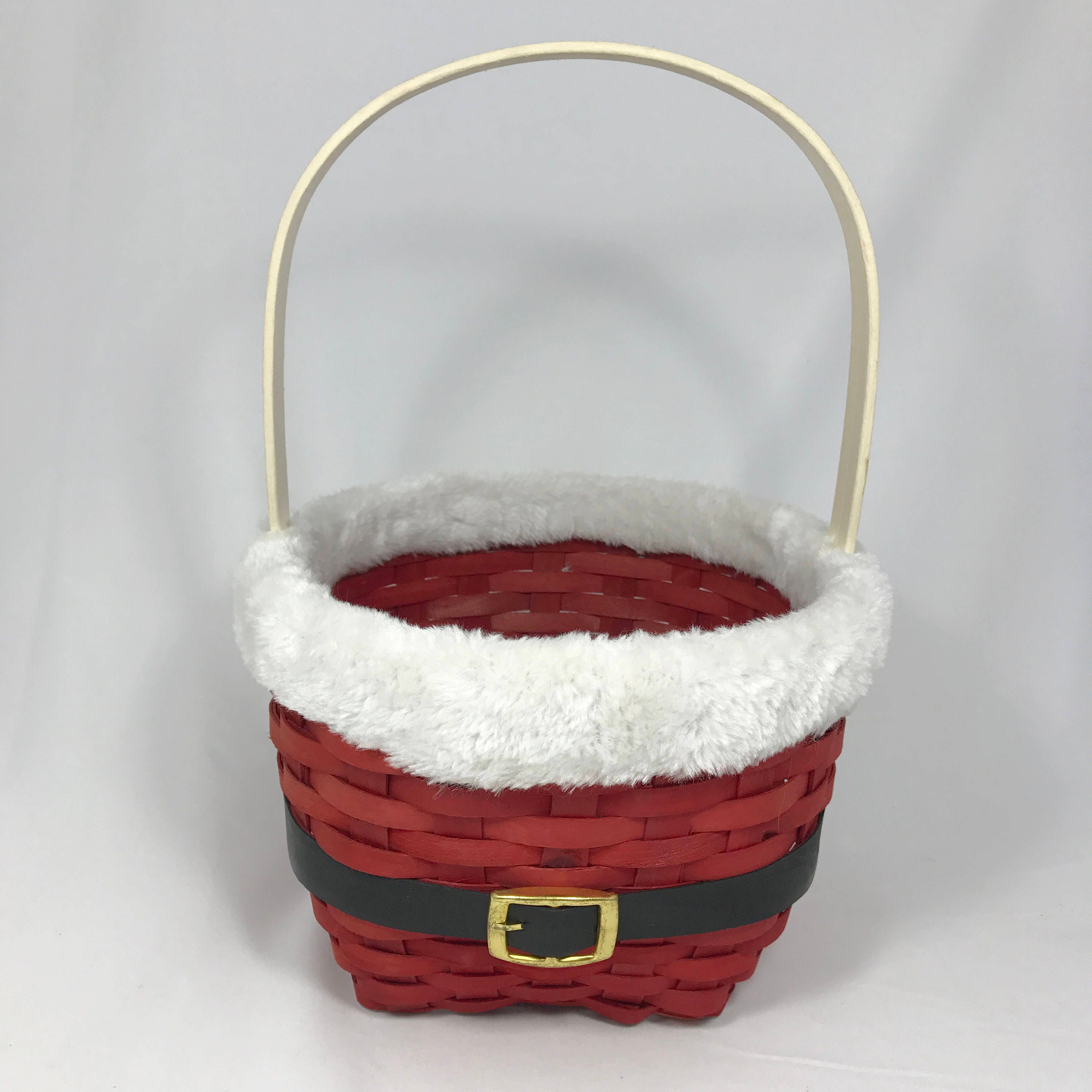 Red woven santa claus suit wicker christmas basket with