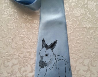 Donkey Man Sketch - Funny Clothing- Party Clothes  -Light Blue 4 inches widest point.Handmade.Wedding Tie